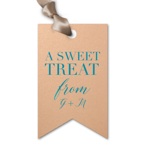 Our custom Stardream Rose Gold Diamond Gift Tag with Satin Teal / Peacock Foil will make your guests swoon. Personalize your party's theme today.