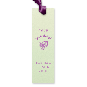 Share your love story beyond the wedding with custom bookmarks. Personalized party favors for the bride and groom who love to read, just add your names and date to our Peony design. Keep our Mint paper and Plum foil or choose your own theme colors.