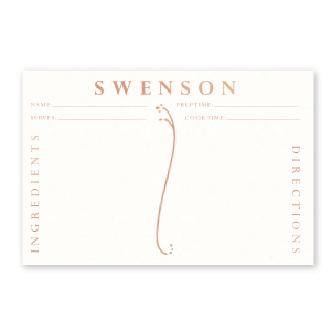 Custom Strathmore White Recipe Card with Shiny Rose Gold Foil has a Fancy Flourish graphic and is good for use in Accents themed parties and will give your party the personalized touch every host desires.