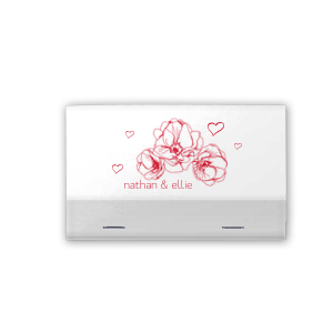 Our personalized White 30 Strike Matchbook with Satin Lipstick Red Foil has a Flower Trio graphic and is good for use in Floral, Wedding, Birthday themed parties and can be customized to complement every last detail of your party.