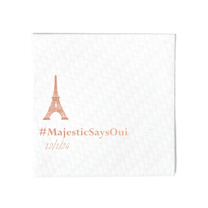 The ever-popular Woven White Woven Cocktail Napkin with Shiny Rose Gold Foil has a Eiffel Tower graphic and is good for use in Travel themed parties and will look fabulous with your unique touch. Your guests will agree!