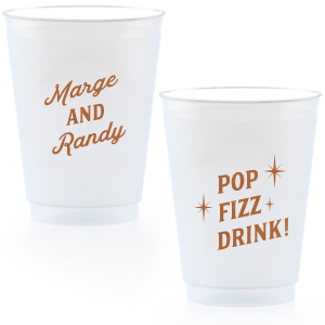 ForYourParty's personalized 16 oz Frost Flex Cup with Copper Ink will look fabulous with your unique touch. Your guests will agree!