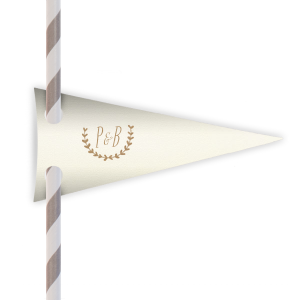 ForYourParty's personalized Strathmore Ivory Pennant Straw Tag with Shiny Champagne Foil has a Branch 1 graphic and is good for use in Frames themed parties and can be personalized to match your party's exact theme and tempo.