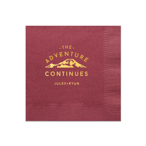 For the couple who loves getting outdoors add the perfect touch to your bar, dessert table or appetizers with this The Adventure Continues personalized napkin. Pair your names with the Shiny 18kt Gold mountain design for a seamless detail.