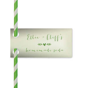 Dress up drinks with custom straw tags! Add your names and signature drink to these Mint flags featuring our Heart Branch graphics with Matte Moss foil for a bar detail guests will adore. Perfect for a greenery themed wedding reception, engagement party, graduation, birthday and more.