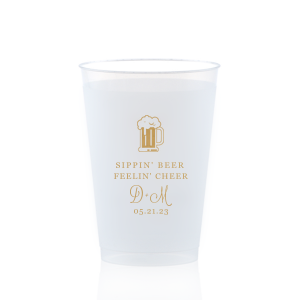 ForYourParty's personalized Gold Ink 12 oz Frosted Plastic Cup with Gold Ink Cup Ink Colors has a Brew graphic and is good for use in Drinks themed parties and will make your guests swoon. Personalize your party's theme today.