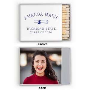 Custom White Classic Photo/Full Color Matchbox with Matte Cobalt Ink Digital Print Colors has a Graduation Scroll graphic and is good for use in Graduation themed parties and are a must-have for your next event—whatever the celebration!