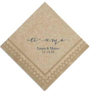 Our beautiful custom Champagne Cocktail Napkin with Matte Navy Foil Color has a Ti Amo graphic and is good for use in Words themed parties and will give your party the personalized touch every host desires.