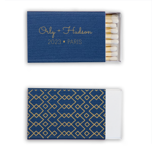 ForYourParty's personalized Linen Navy Blue Classic Matchbox with Satin 18 Kt. Gold Foil has a Geometric,  Aztec Pattern graphic and is good for use in Stylish, Boho and Modern parties and will look fabulous with your unique touch. Your guests will agree!
