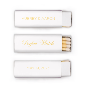 ForYourParty's personalized perfect match matchboxes will give your wedding the personalized touch every bride wants. Wedding guests like custom wedding matches as a wedding favor, and they'll love your punny personalized perfect match matches!