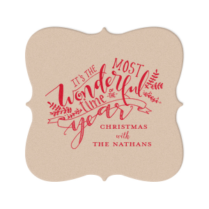 ForYourParty's elegant Eggshell Square Coaster with Satin Lipstick Red Foil has a The Most Wonderful Time graphic and is good for use in Christmas and Holiday themed parties and can be customized to complement every last detail of your party.