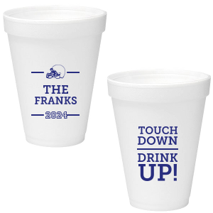 Our custom Matte Cobalt Ink 16 oz Styrofoam Cup with Matte Cobalt Ink Cup Ink Colors has a Helmet graphic and is good for use in Sports themed parties and will add that special attention to detail that cannot be overlooked.