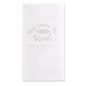 ForYourParty's personalized Marble Sand Cocktail Napkin with Shiny Amethyst Foil Color has a Here Comes the Bride 3 graphic and is good for use in Words themed parties and can't be beat. Showcase your style in every detail of your party's theme!