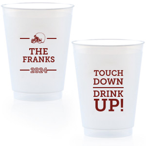 Our custom Matte Merlot Ink 12 oz Frosted Plastic Cup with Matte Merlot Ink Cup Ink Colors has a Helmet graphic and is good for use in Sports themed parties and are a must-have for your next event—whatever the celebration!