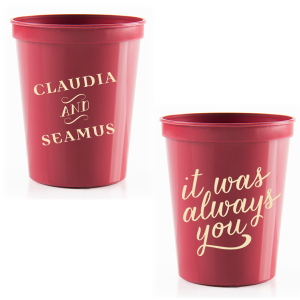 Our personalized Maroon 16 oz Stadium Cup with Matte Ivory Ink Cup Ink Colors has a It Was Always You graphic and is good for use in Anniversary, Wedding, and Engagement themed parties and will make your guests swoon. Personalize your party's theme today.