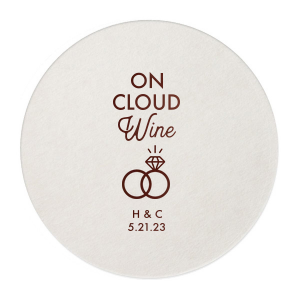 The ever-popular Blush with Kraft back Nouveau Coaster with Shiny Merlot Foil has a Wedding Rings 2 graphic and is good for use in Wedding themed parties and will add that special attention to detail that cannot be overlooked.