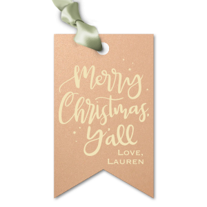 ForYourParty's chic Stardream Rose Gold Luggage Gift Tag with Matte Ivory Foil has a Merry Christmas Y'All graphic and is good for use in Christmas and Holiday themed parties and gift giving and can be personalized to match your exact theme and tempo.