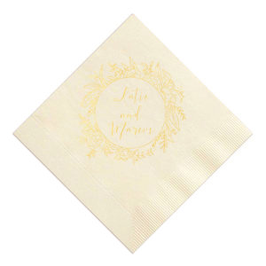 ForYourParty's elegant Ivory Cocktail Napkin with Shiny 18 Kt Gold Imprint Foil Color has a Peony Circle Frame graphic and is good for use in Floral themed parties and will give your party the personalized touch every host desires.