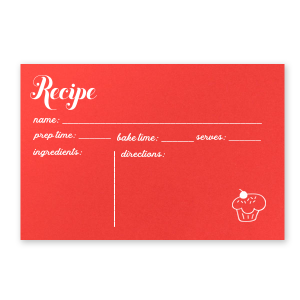 ForYourParty's elegant Poptone Peach Recipe Card with Matte White Foil has a Cupcake graphic and is good for use in Food, Bridal, Birthday themed parties and will add that special attention to detail that cannot be overlooked.