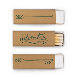 ForYourParty's chic Natural Kraft/Latte Lipstick Matchbox with Matte Spruce Foil has a Oar graphic and a The Adventure Begins graphic and a Oar graphic and is good for use in Adventure, Outdoors, Trendy themed parties and will impress guests like no other. Make this party unforgettable.