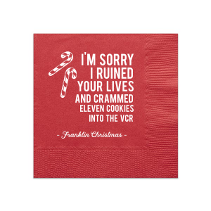 Our custom Lipstick Red Cocktail Napkin with Matte White Foil has a Candy Cane graphic and is good for use in Christmas themed parties and can be customized to complement every last detail of your party.