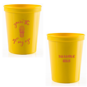 Our beautiful custom Hot Pink 16 oz Stadium Cup with Matte Sunflower Ink Cup Ink Colors has a Pineapple Tiki graphic and is good for use in Food, Beach/Nautical themed parties and can be personalized to match your party's exact theme and tempo.
