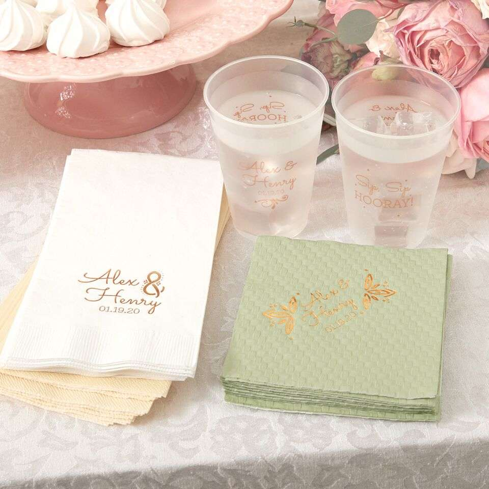 custom designed frosted cups, cocktail napkins and guest towels