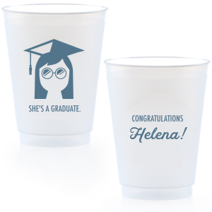 Our beautiful custom 14 oz Frost Flex Cup with Matte Stone Blue Ink Cup Ink Colors has a Grad Girl graphic and is good for use in Graduation parties and will look fabulous with your unique touch. Your guests will agree!