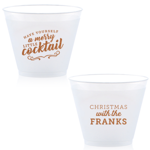 Our custom Copper Ink 9 oz Frost Flex Cup with Copper Ink Cup Ink Colors has a Merry Little Cocktail graphic and is good for use in Words, Drinks, Holiday themed parties and couldn't be more perfect. It's time to show off your impeccable taste.