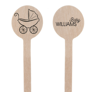 The ever-popular Matte Black Round Stir Stick with Matte Black Foil Color and Shiny Leaf Foil Color has a Baby Carriage graphic and is good for use in Baby Shower themed parties and will add that special attention to detail that cannot be overlooked.