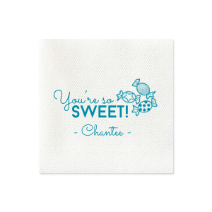 ForYourParty's elegant Dark Turquoise Cocktail Napkin with Matte Mimosa Yellow Foil has a Candy graphic and is good for use in Kid Birthday, Food, Birthday themed parties and will look fabulous with your unique touch. Your guests will agree!