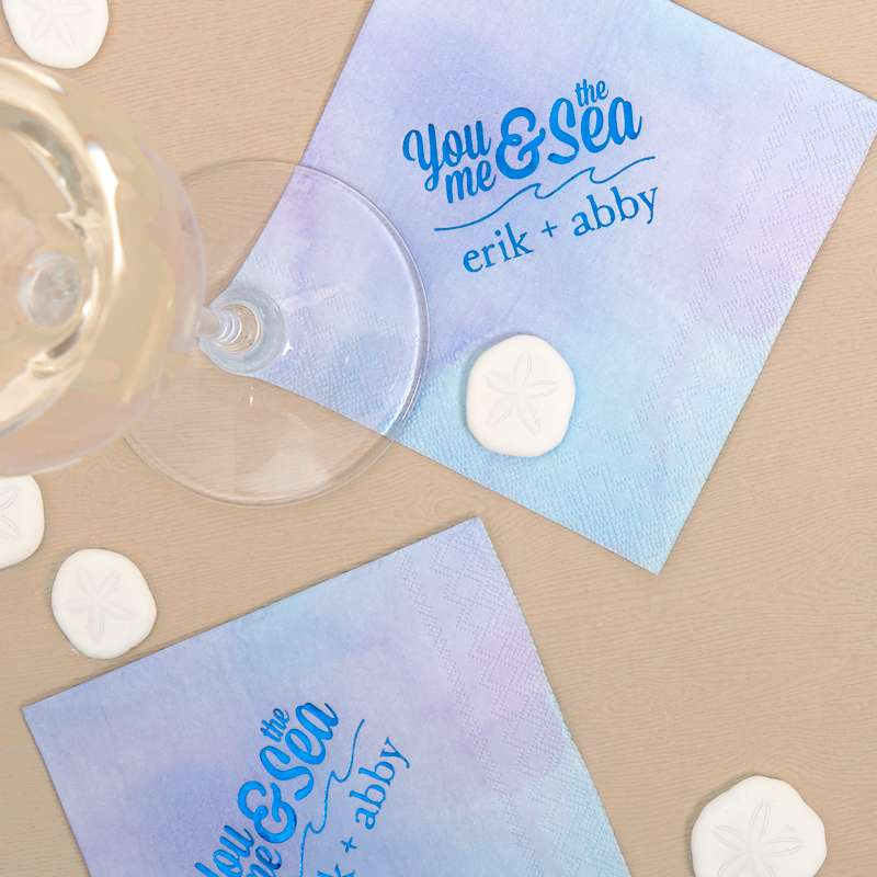you me and the sea watercolor wedding cocktail napkins