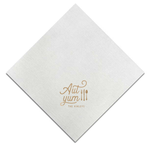 ForYourParty's personalized White 4-ply Cocktail Napkin with Shiny Champagne Foil has a Place Setting graphic and is good for use in Food themed parties and couldn't be more perfect. It's time to show off your impeccable taste.