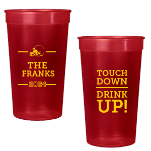 Our custom Transparent Red 22 oz Stadium Cup with Matte Sunflower Ink Cup Ink Colors has a Helmet graphic and is good for use in Sports themed parties and are a must-have for your next event—whatever the celebration!