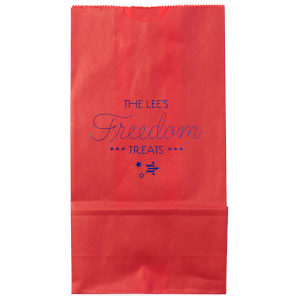 Our custom Red Goodie Bag with Shiny Royal Blue Foil Color has a 3 Stars graphic and is good for use in Stars themed parties and will make your guests swoon. Personalize your party's theme today.