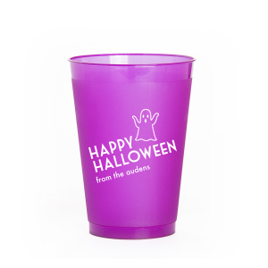 The ever-popular Purple 12 oz Frost Flex Color Cup with Matte White Ink Cup Ink Colors has a Ghost graphic and is good for use in Halloween themed parties and will give your party the personalized touch every host desires.