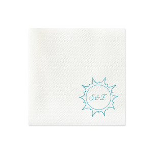 Our custom White Linen Like Petite Napkin with Satin Teal / Peacock Foil has a Sunburst graphic and is good for use in Beach/Nautical themed parties and can be personalized to match your party's exact theme and tempo.