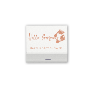 Our personalized Shiny White 40 Strike Matchbook with Shiny Rose Gold Foil has a Footprints graphic and is good for use in Baby Shower themed parties and can't be beat. Showcase your style in every detail of your party's theme!