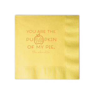Our custom Pastel Yellow Cocktail Napkin with Matte Tangerine Foil has a Pumpkin graphic and is good for use in Thanksgiving and Autumn themed parties and can be personalized to match your party's exact theme and tempo.