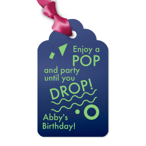 Our beautiful custom Shiny Violet Wine Hang Tag with Matte Key Lime Foil has a Confetti Accent graphic and is good for use in Birthdays, Bar/Bat Mitzvahs and other celebration themed parties and can't be beat. Showcase your style in every detail of your party's theme!