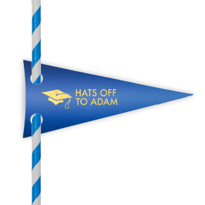 Our personalized Shiny True Blue Pennant Straw Tag with Shiny 18 Kt Gold Foil Color has a Cap graphic and is good for use in Graduation themed parties and are a must-have for your next event—whatever the celebration!