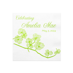 Personalized White Cocktail Napkins with Bleed with Shiny Kiwi / Lime Foil has a Dogwood graphic and is good for use in Milestone and Garden themed parties and will add that special attention to detail that cannot be overlooked.