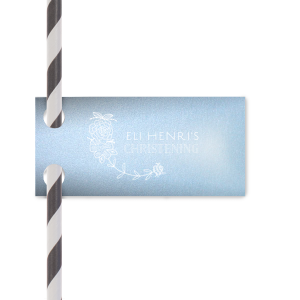 Our beautiful custom Stardream Sky Blue Wave Straw Tag with Matte White Foil has a Peony Flourish graphic and is good for use in Floral, Frames themed parties and couldn't be more perfect. It's time to show off your impeccable taste.