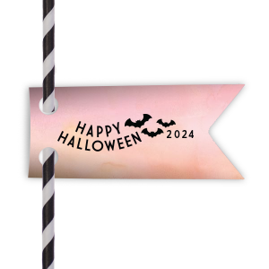 Personalized Watercolor Rose Double Point Straw Tag with Matte Black Foil has a Bats graphic and is good for use in Halloween, Holiday, Animals themed parties and will look fabulous with your unique touch. Your guests will agree!