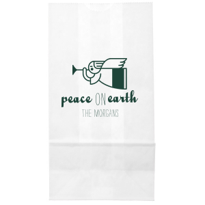 Personalized White Party Bag with Satin 18 Kt. Gold Foil Color has a Angel 2 graphic and is good for use in Christian, Christmas, Holiday themed parties and will impress guests like no other. Make this party unforgettable.