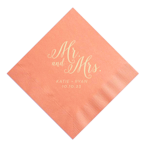 "Design your own ""Mr. and Mrs."" personalized wedding napkins for your wedding reception. The gorgeous font and the adorable theme will add a touch of fabulous customization to your wedding day celebration."