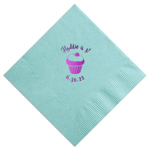 Our beautiful custom Tiffany Blue Cocktail Napkin with Shiny Amethyst Foil Color has a Kid Cupcake graphic and is good for use in Kid Birthday, Food, Birthday themed parties and will make your guests swoon. Personalize your party's theme today.