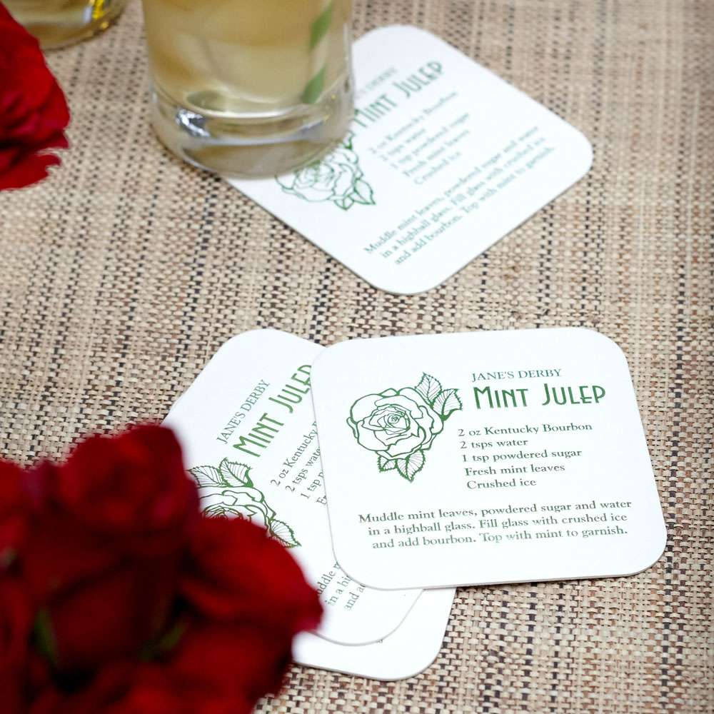 mint julep cocktail recipe coaster