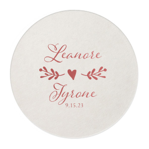 ForYourParty's personalized Eggshell Scallop Coaster with Shiny Rose Quartz Foil has a Twig Flourish graphic and is good for use in Floral and Wedding themed parties and will make your guests swoon. Personalize your party's theme today.