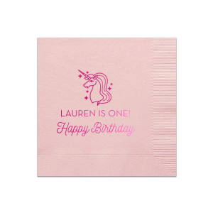 Our custom Honeydew Cocktail Napkin with Shiny Fuchsia Foil has a Unicorn 2 graphic and is good for use in Kid Birthday, Animals, Birthday themed parties and can be customized to complement every last detail of your party.